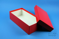 ALPHA Box 75 long2 / 1x1 without divider, red, height 75 mm, fiberboard...