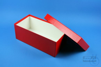 ALPHA Box 100 long2 / 1x1 without divider, red, height 100 mm, fiberboard...