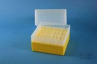 EPPi® Box 122 / 8x8 holes, yellow, height 122 mm fix, alpha-num. ID code, PP....
