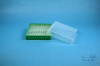 EPPi® Box 37 / 10x10 holes, green, height 37 mm fix, alpha-num. ID code, PP....