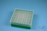 EPPi® Box 50 / 8x8 holes, green, height 52 mm fix, alpha-num. ID code, PP....