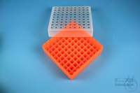 EPPi® Box 45 / 9x9 divider, neon-orange, height 45-53 mm variable, alpha-num....