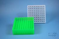 EPPi® Box 50 / 9x9 divider, neon-green, height 52 mm fix, alpha-num. ID code,...