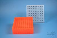 EPPi® Box 50 / 9x9 divider, neon-orange, height 52 mm fix, alpha-num. ID...