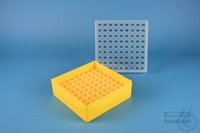 EPPi® Box 45 / 9x9 divider, yellow, height 45-53 mm variable, alpha-num. ID...