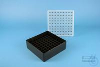 EPPi® Box 50 / 9x9 divider, black, height 52 mm fix, alpha-num. ID code, PP....