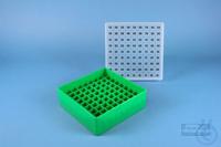 EPPi® Box 50 / 9x9 divider, green, height 52 mm fix, alpha-num. ID code, PP....