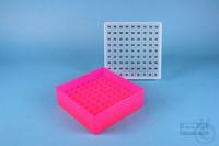 EPPi® Box 50 / 9x9 divider, neon-red/pink, height 52 mm fix, alpha-num. ID...