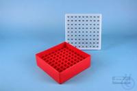 EPPi® Box 50 / 9x9 divider, red, height 52 mm fix, alpha-num. ID code, PP....