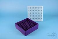 EPPi® Box 50 / 9x9 divider, violet, height 52 mm fix, alpha-num. ID code, PP....