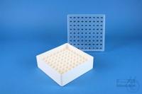 EPPi® Box 50 / 9x9 divider, white, height 52 mm fix, alpha-num. ID code, PP....