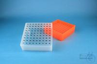 EPPi® Box 75 / 9x9 divider, neon-orange, height 75 mm fix, alpha-num. ID...