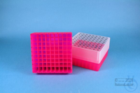 EPPi® Box 75 / 9x9 divider, neon-red/pink, height 75 mm fix, alpha-num. ID...