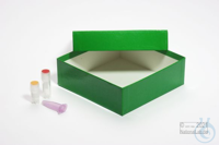 MIKE Box 50 / 1x1 without divider, green, height 50 mm, fiberboard standard....