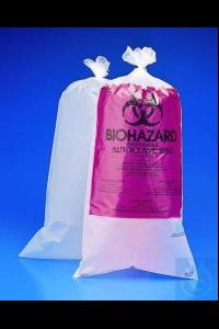 BEL-ART-Waste bags 610x760 mm PE, autoclavabler, printed, pack of 100 Biohazard waste bags, PP...