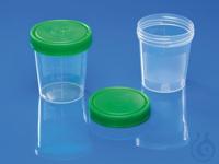 Urinbecher 100 SV m/Deckel (grün), unterverp., Becher Stapel in hygienischer...
