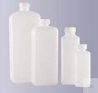 Vierkantflaschen, enghals, PE-HD, geriffelt, 100 ml, GL 18, Ohne Verschluss...