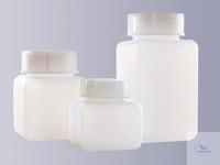 Vierkantflaschen, weithals, PE-HD, 100 ml, GL 32, Ohne Verschluss (bitte...