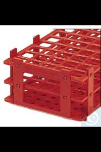 Reagenzglasgestell PP, Farbe rot Reagenzglasgestell PP, Farbe rot, 84 Stellplätze, für Gläser bis...