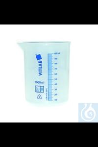 Becherglas Kunststoff aus PP, milchig weiß mit blauer SkalaInhalt: 1 Stück