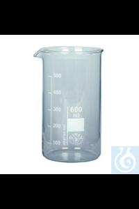 Bechergläser Boro Becherglas Hohe Form, Borosilkatglas 3.3, 25ml, mit Ausguss