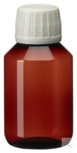 PEB100 behroplast PET bottle, narrow neck, brown, 100 ml, crack-on- opening...