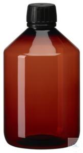 PEB500 behroplast PET bottle, narrow neck, brown, 500 ml, crack-on- opening...