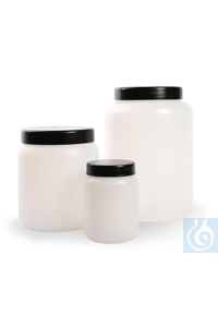 Jar HDPE with screw cap and inner cap 250 ml, Ø 67 x H 90 mm, mouth 50 mm Jar HDPE with screw cap...