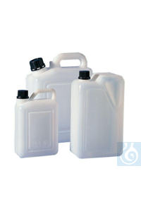 3Articles like: Jerrycan 1 litre, HDPE, L x B x H = 69 x 118 x 183 mm, mouth = 22 mm Jerrycan...