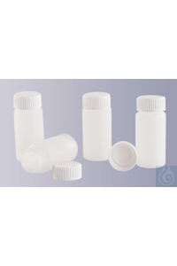 Scintillation vial, HDPE, natural, complete with screw cap, 20 ml, GL 22,5 Scintillation vial,...