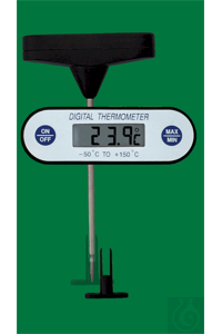 Digital one-hand pricking thermometer, -50...+200:0,1°C, maximum-minimum-memory, water-resistant,...