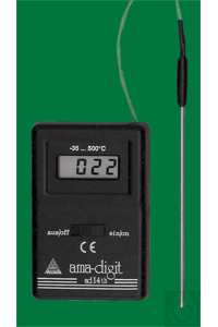 Electronic digital thermometer, ad 14 th, -35...+500:1°C, semi conductor of stainless steel...