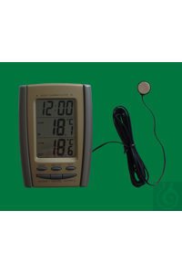 Electronic indoor thermomometer, Thermo Clock, with clock date and outdoor...