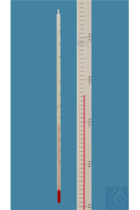 General purpose thermometer, solid stem, -10/0+150:1°C, white backed, red special liquid,...
