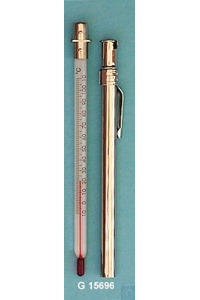 Pocket thermometer, simple type, in nickel-plated brass case with clip, solid stem, -30+50:1°C,...