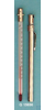 Taschenthermometer, Einfachtyp, in vernickelter Doppelsteckhülse aus Messing mit Clip, Stabform,...