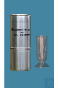 Rain gauges according to Professor Hellmann, made of nonrusting steinless steel, collecting area...