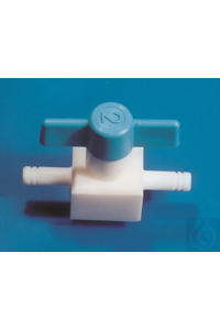 PTFE valve, straight through, push fit, arm Ø 9 mm, bore 4 PTFE valve, straight through, push...