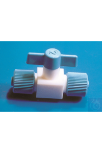 PTFE valve, straight through, screw clamp, tube O.D. 6 mm, bore 2 PTFE valve, straight through,...