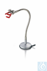 Flexible stand, natural zinc die-casting and brass, nickel plated, vinyl coated jaws, length 300...