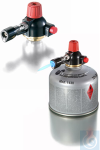 Micro burner for cartridge with piezo electric ignition, air regulation, needle valve, T=1640°C