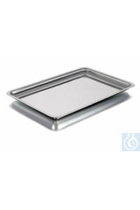 Instrument tray, 400 x 270 x 10 mm stainless steel, rounded corners.