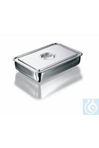 Instrument tray, stainless steel, rounded corners, lid with recessed handle, length 230 mm, width...