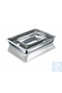 Instrument tray, stainless steel, rounded corners, length 340 mm, width 210 mm, height 60 mm
