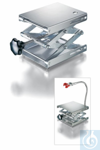 Lab-jack 120 x 140 mm, DIN 12897, stainless steel plates, shear resistant execution, top plate...