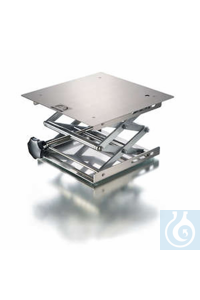 Lab-jack 240 x 240 mm, DIN 12897, stainless steel plates, shear resistant execution, top plate...