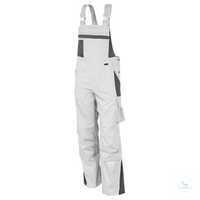 Latzhose 61937TC4 weiß-grau Größe 102 Brustlatz mit aufgesetzter Latztasche...