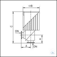 HV-Eckventil VA 16 ME elektromagnetisch 80-250V 50/60Hz, Typ VA 16 ME DN...KF, A 40 mm, B 84,5...