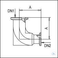 3Panašios prekės KF Reducing Elbows, Stainless Steel Type DN 25/16 KF DN1/DN2, A 50 mm KF...