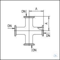 3Panašios prekės KF Cross Pieces, Stainless Steel Type DN 16 KF, A 40 mm KF Cross Pieces,...
